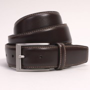 Dents Mens Brown Leather Belt - Contrast Top Stitch Detail